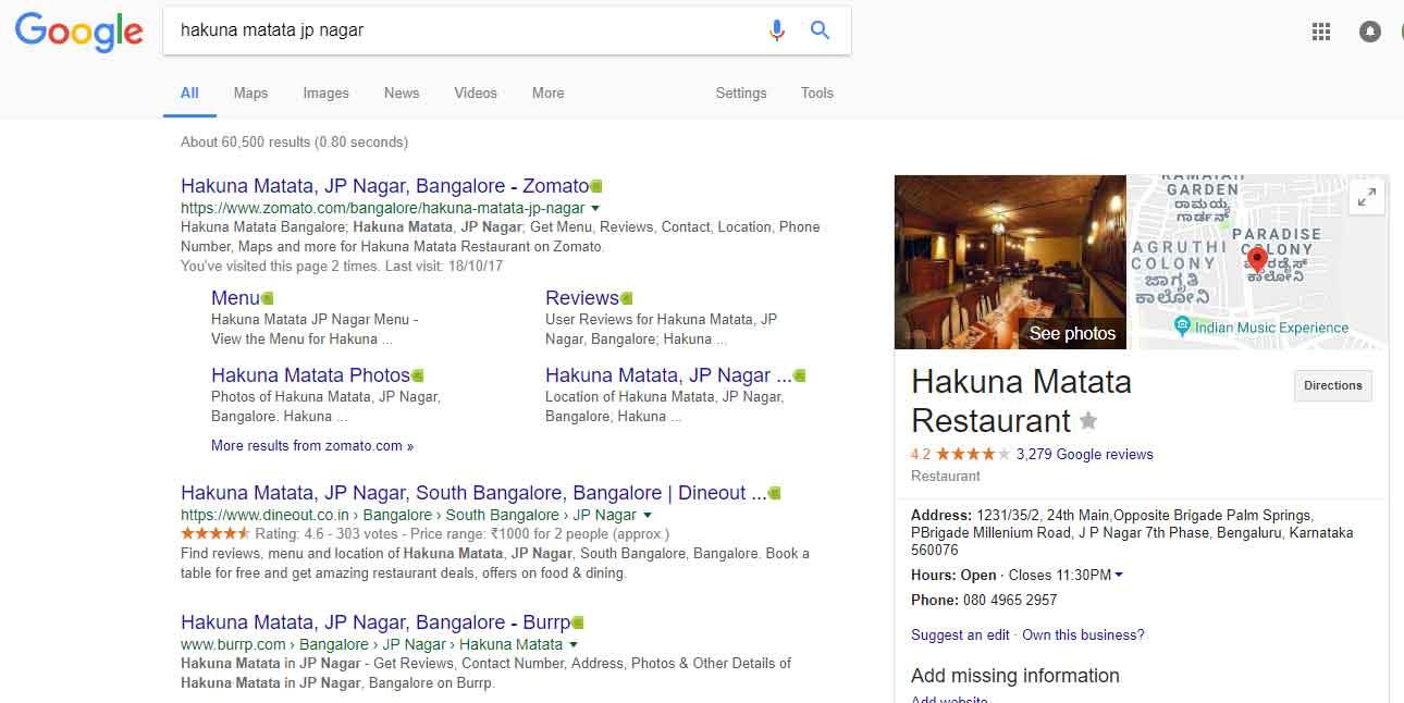 Google Business Listing Example